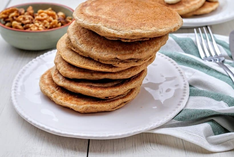 Light & Fluffy Pancakes - Shaw's Simple Swaps @shawsimpleswaps A great way breakfast or snack on the go!