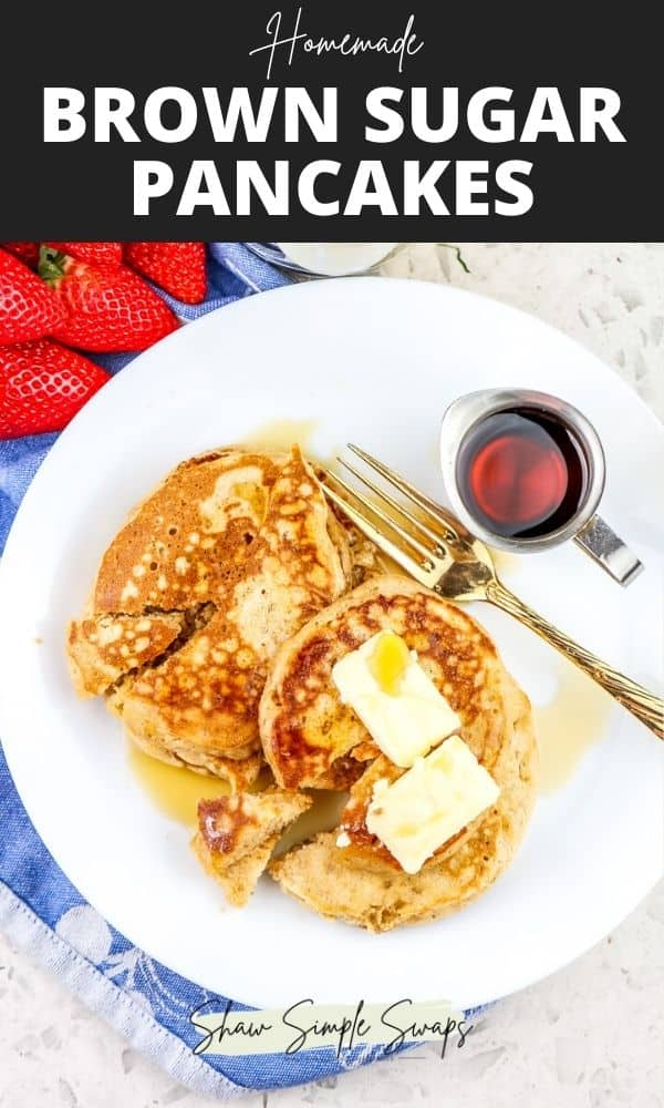 Pinterest image with black text on top with white plate topped with brown pancakes and butter.