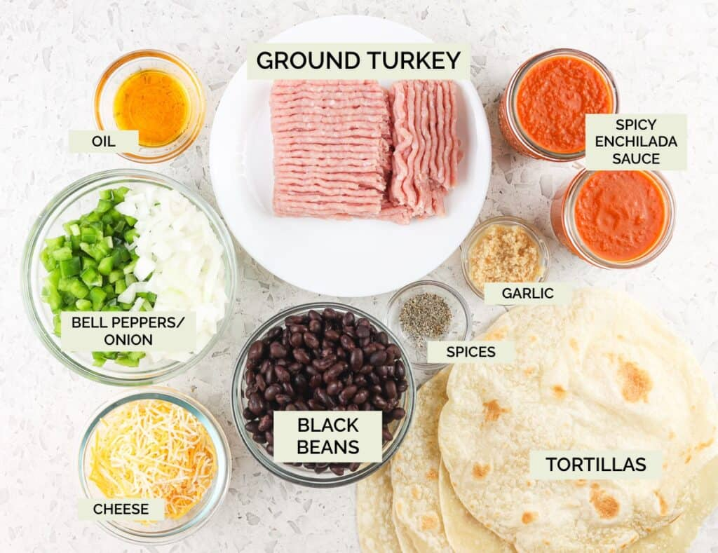 White backdrop with glass bowls of ground turkey, veggies, black beans, and sauces with tortillas to make enchiladas with green text overlay.