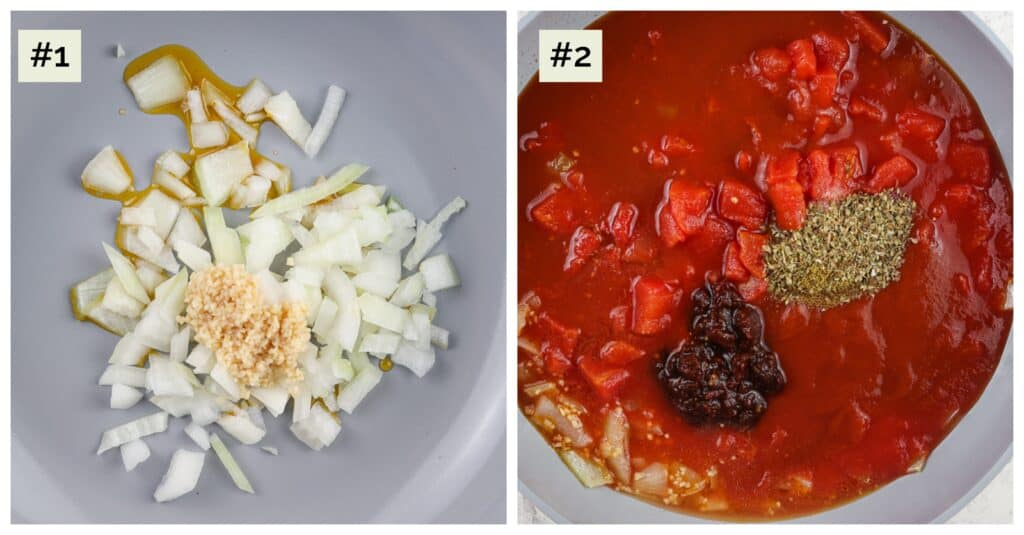 Picture collage of two side by side images, first being onions and garlic in saute pan, second is red sauce with dark brown spices in the saute pan.