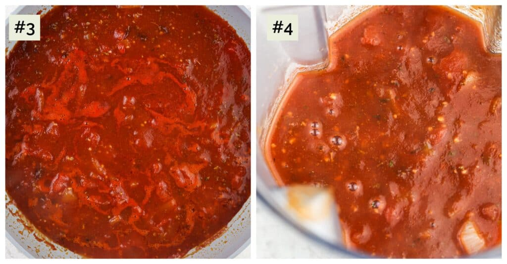 Picture collage of two side by side images with first being a cooked, simmering red sauce, the second being the sauce in a blender.
