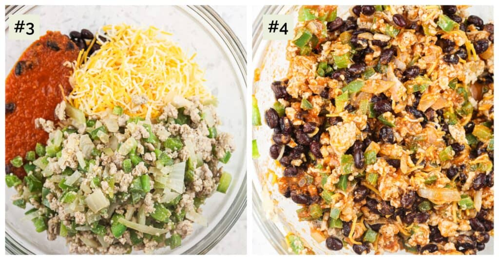 Two picture collage, the first of a glass bowl on white backdrop with cooked green veggies and meat mixed with red sauce and yellow cheese. The second image is the combination of black beans and cheese shining through.