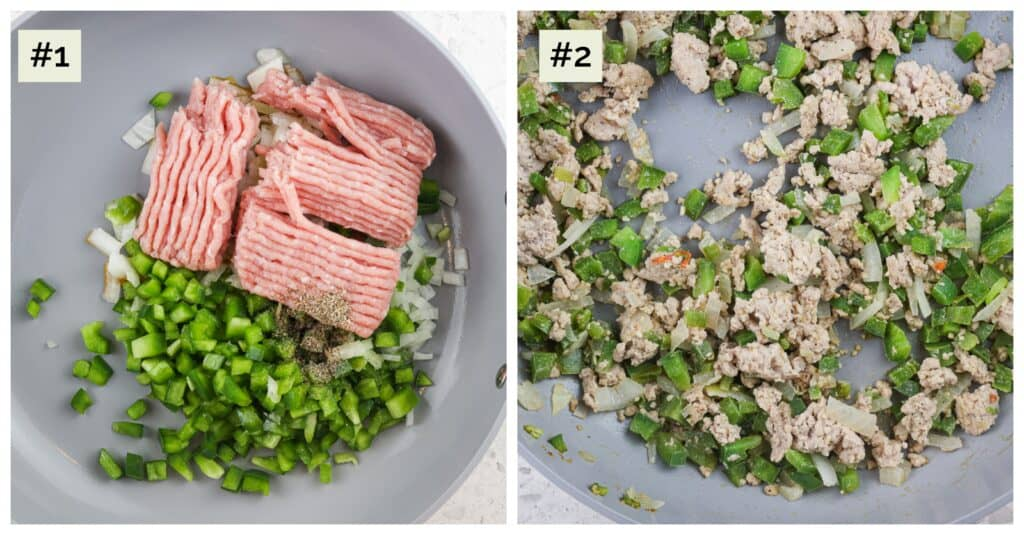 Two image picture collage with the first of a grey saute pan with ground turkey, green peppers and spices. The second image is the cooked browned meat with veggies in the saute pan.