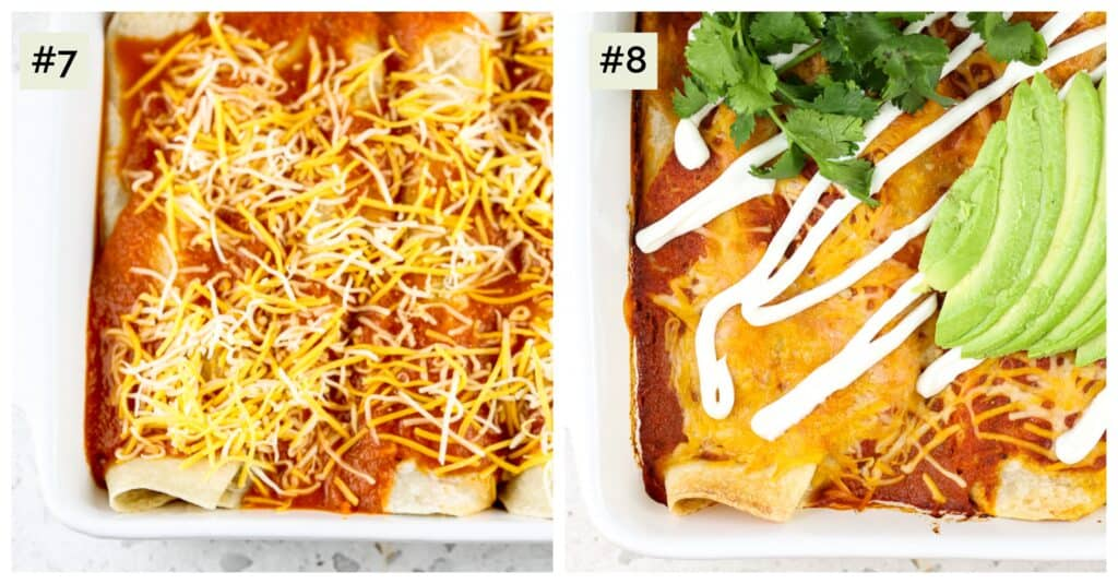 Two picture collage, first of enchiladas with red sauce and cheese in white casserole dish, second of cooked enchiladas with red sauce on top alongside green avocados and a white sauce glaze.