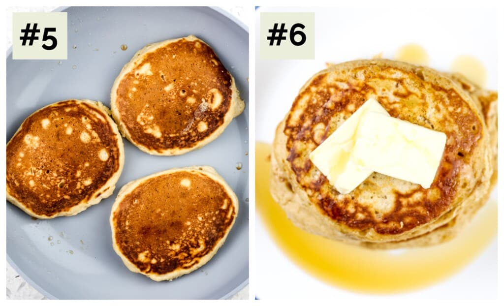 Two picture collage of pancakes cooking in grey pan, then a picture of plated pancakes with butter on top.