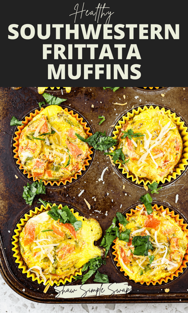 Pinterest image with picture of egg frittatas in rusted muffin tin with black border and light green text.