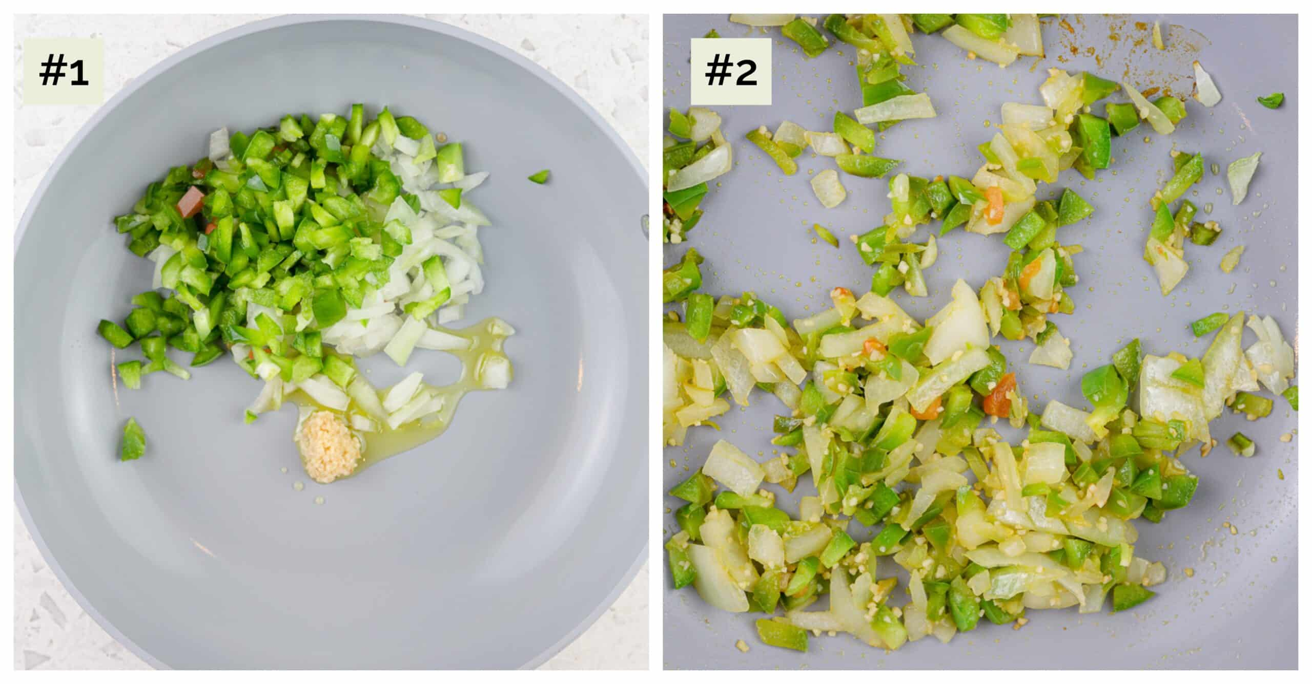 White marble backdrop with 2 picture collage, first image of saute pan  with veggies, second image of cooked veggies in saute pan.