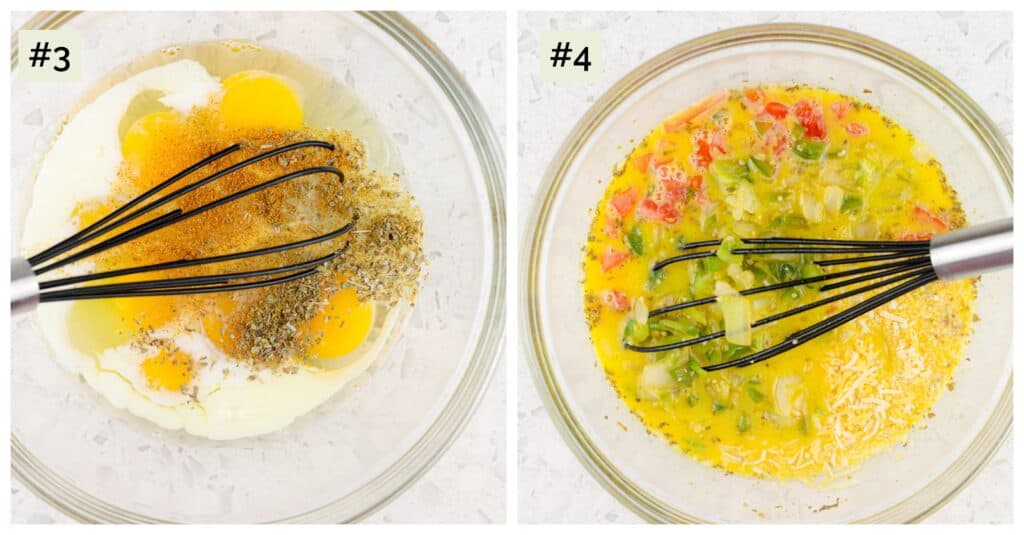 White marble backdrop of two collage images, first of eggs and spices in a bowl with a whisk, second of glass bowl with whisked egg mixture with veggies added.