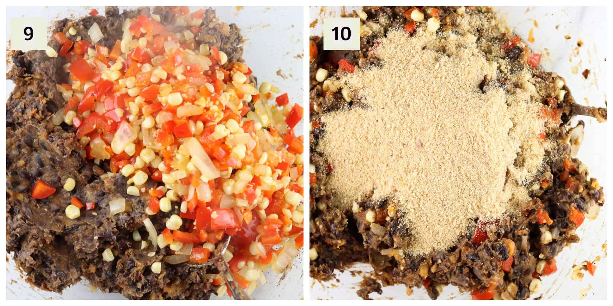 Process shots for black bean burgers.