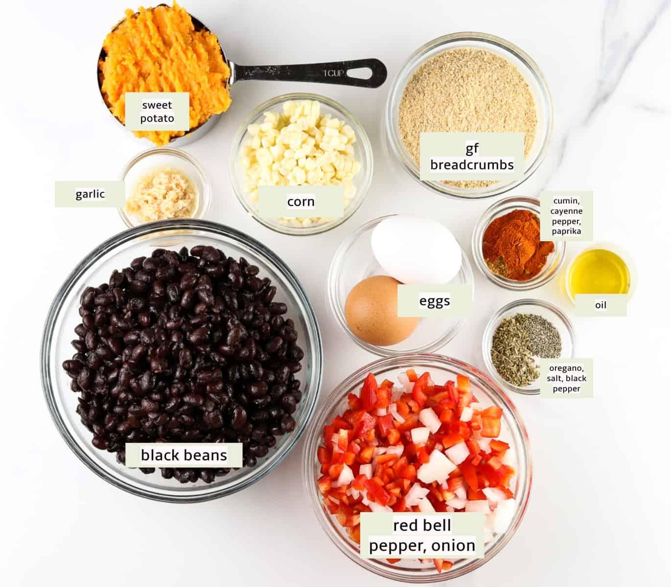 Ingredients for black bean burgers.