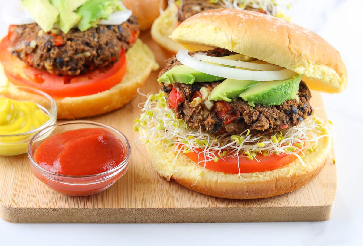 Plated burger.