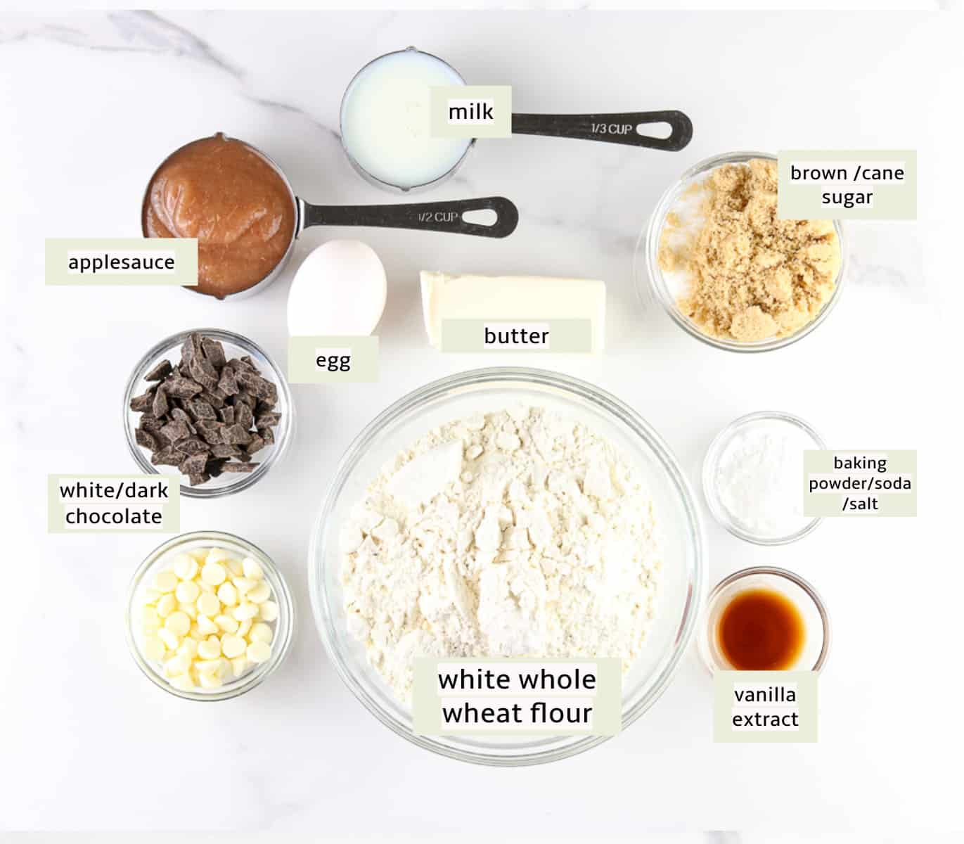 Image of ingredients to make cookie dough bars.