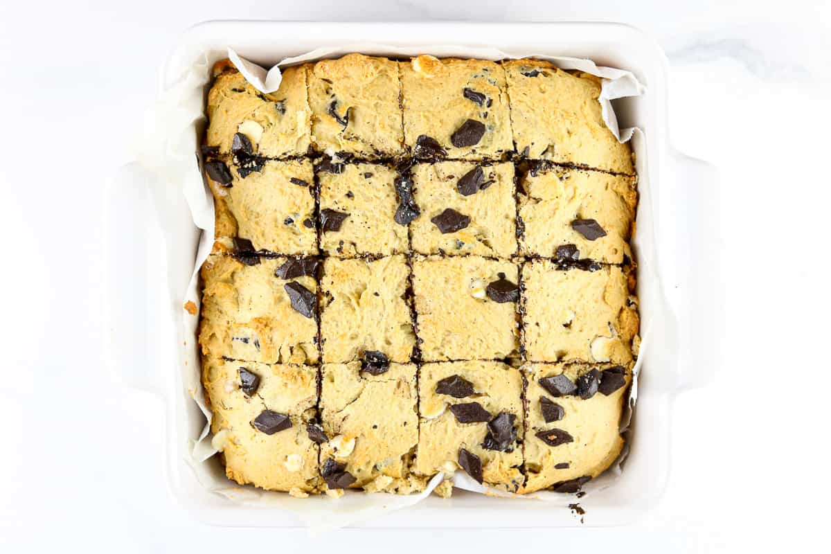 Image of sliced cookie dough bars.