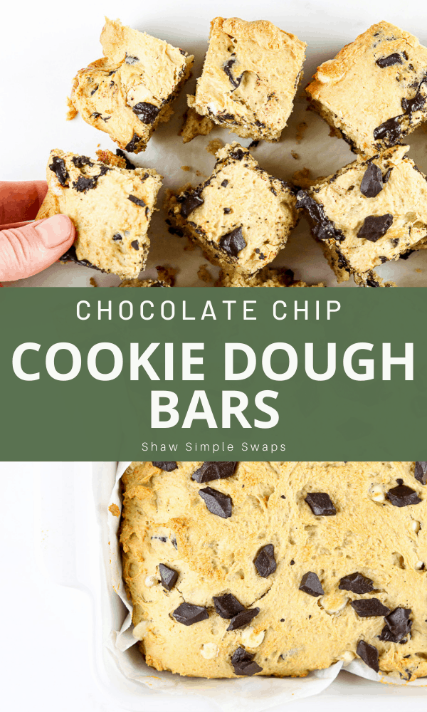Pinable image of cookie dough bars.