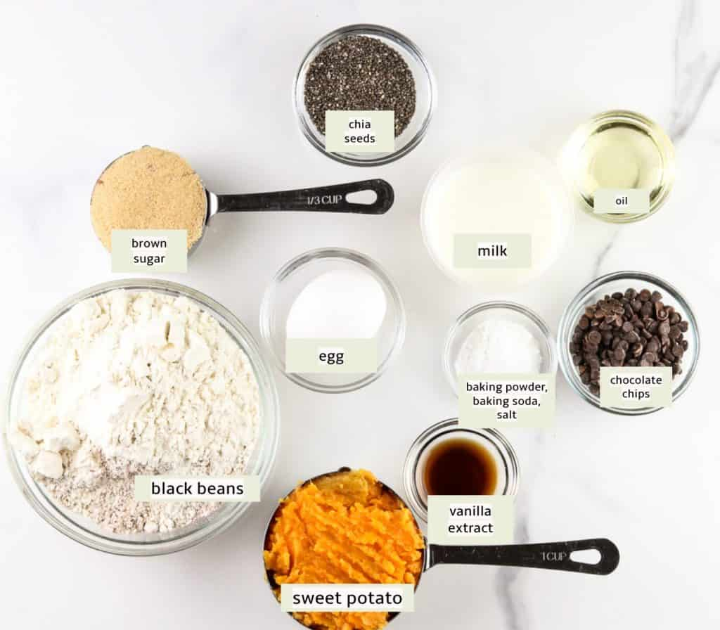 Ingredients to make muffins.
