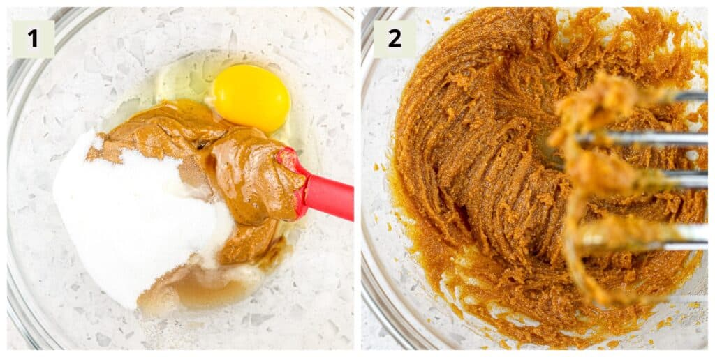 Two collage image with #1 being the egg, pb, and sugar in a glass bowl with red spatula, second being the hand mixer whisks with the dough attached to it.