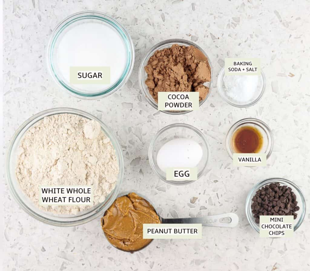 White marble tile with flour, egg, cocoa powder, chocolate chips and peanut butter in small glass bowls with green text overlay to demonstrate cookie recipe ingredients.