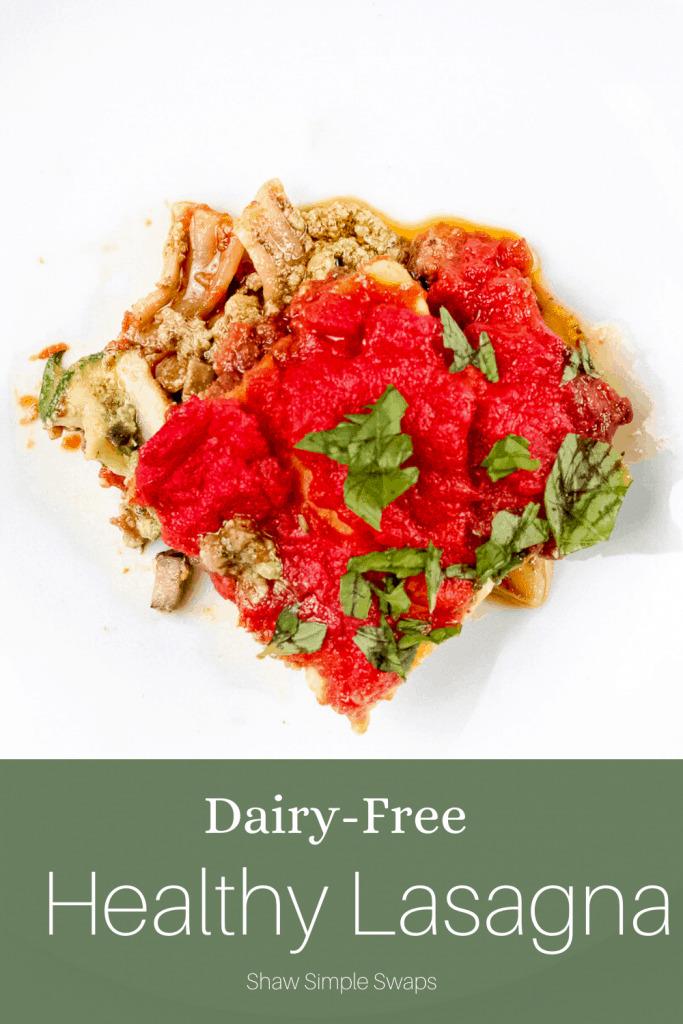 Image of pinable dairy free lasagna recipe.
