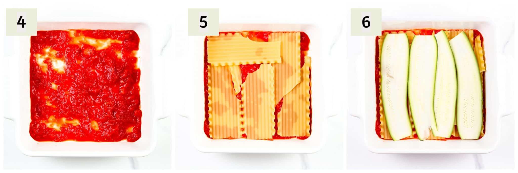 Process shots of making dairy free lasagna.