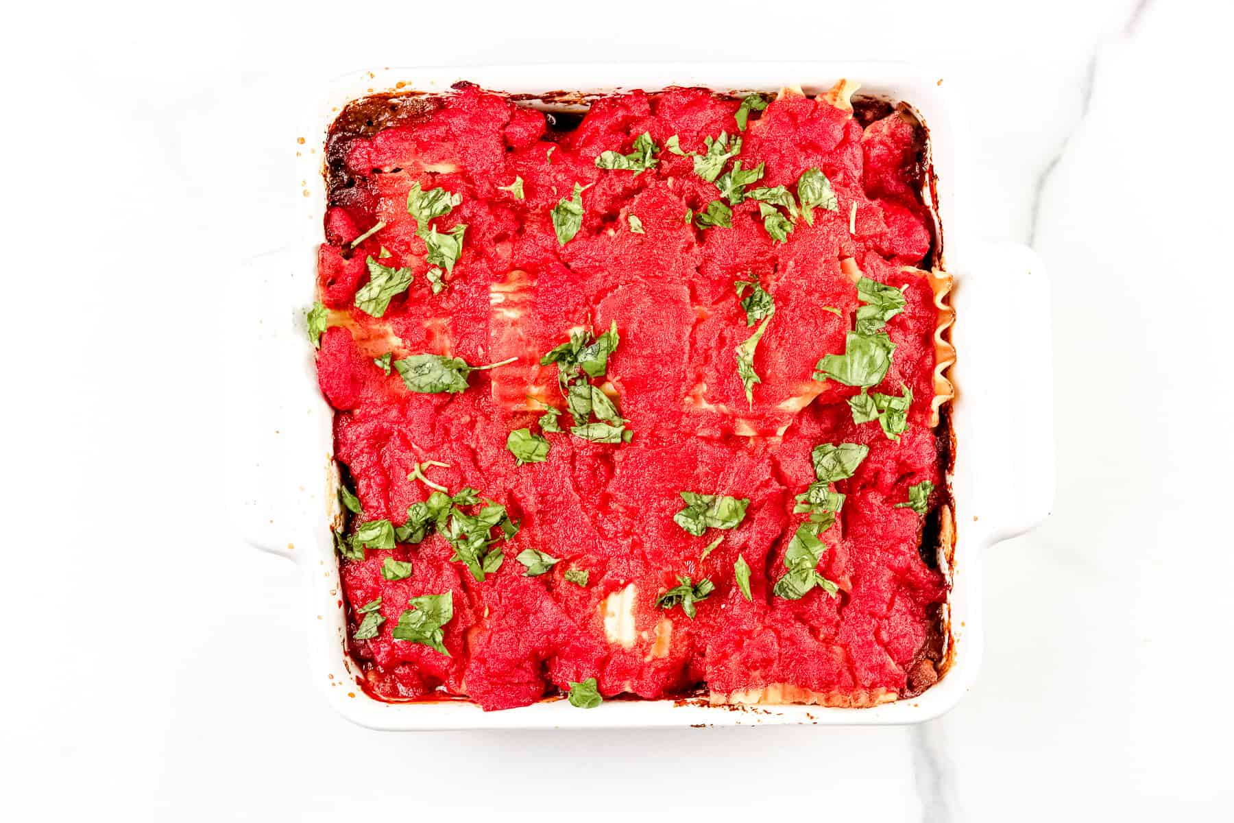 Image of finished dairy free lasagna.