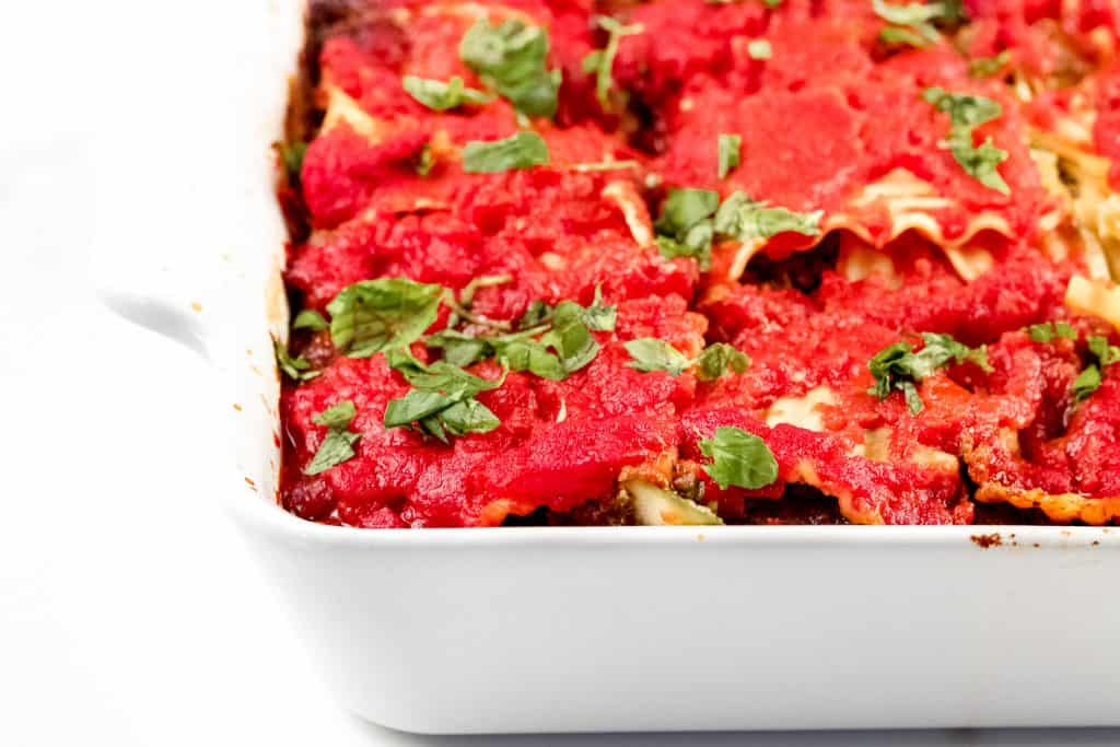 Image of lasagna in a 8x8-inch pan.