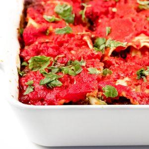 Image of lasagna in a 8x8-inch pan.
