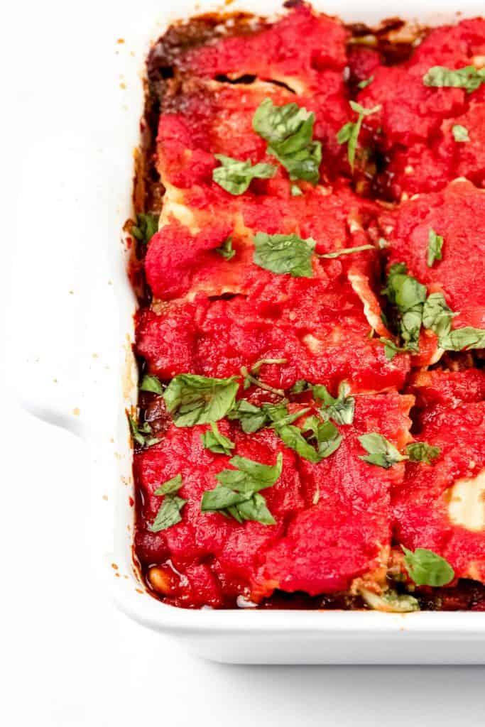Image of baked lasagna.
