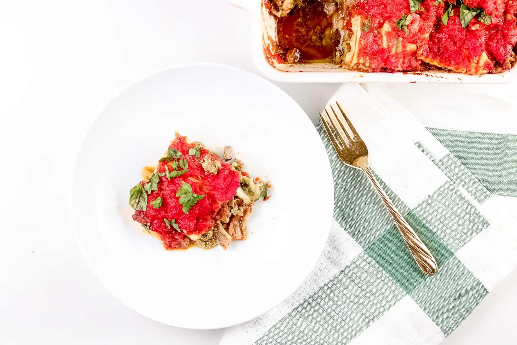 Plated lasagna slice.