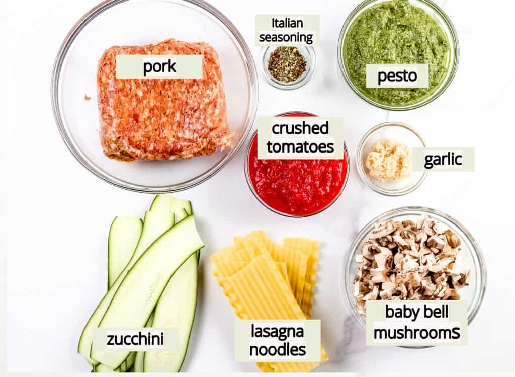 Image of ingredients needed to make dairy free lasagna recipe.