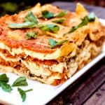 Dairy Free Lasagna- A healthy, lactose free Italian recipe that everyone can enjoy! Filled with fiber and whole grains, this is a healthy recipe that can also be made quickly! Can be made gluten free. #dairyfreerecipes #dairyfreelasagna