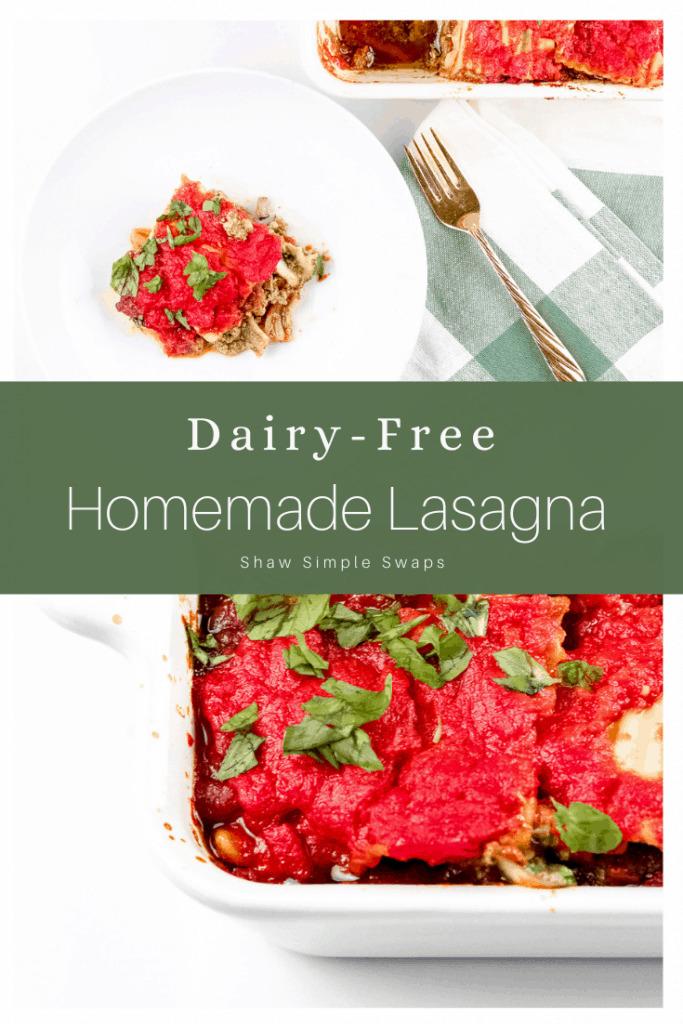 Pinable image of dairy free lasagna.