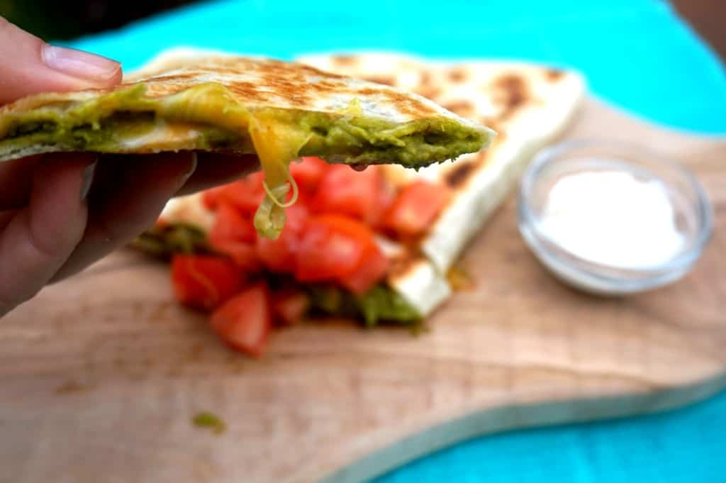 Spinach and Garlic Quesadilla