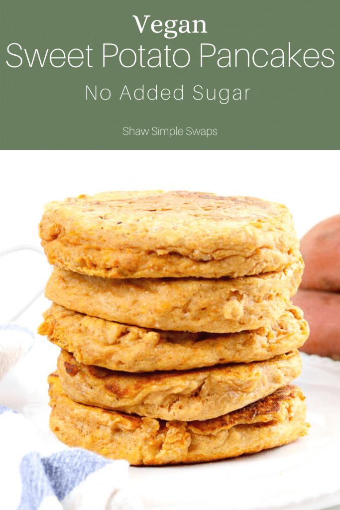 Pinable image of vegan sweet potato pancakes.