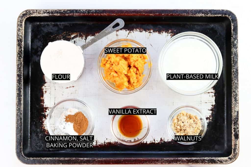 Image of ingredients needed to make vegan sweet potato pancakes.