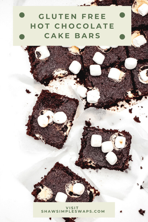 Hot Chocolate Cake Bars - A gluten free holiday or anytime treat the entire crowd will enjoy! Lightened up with half the sugar of a traditional cake bar, this recipe is sure to satisfy a sweet tooth, healthfully! #glutenfreetreats #hotchococolatebars #hotcocoabars #healthyholidaytreats #cookiesforsanta
