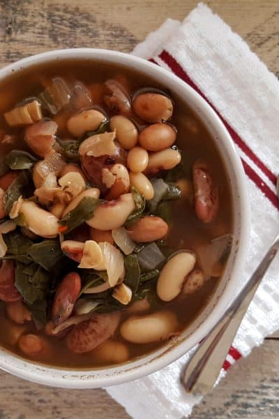 Heirloom Bean Soup with Spinach