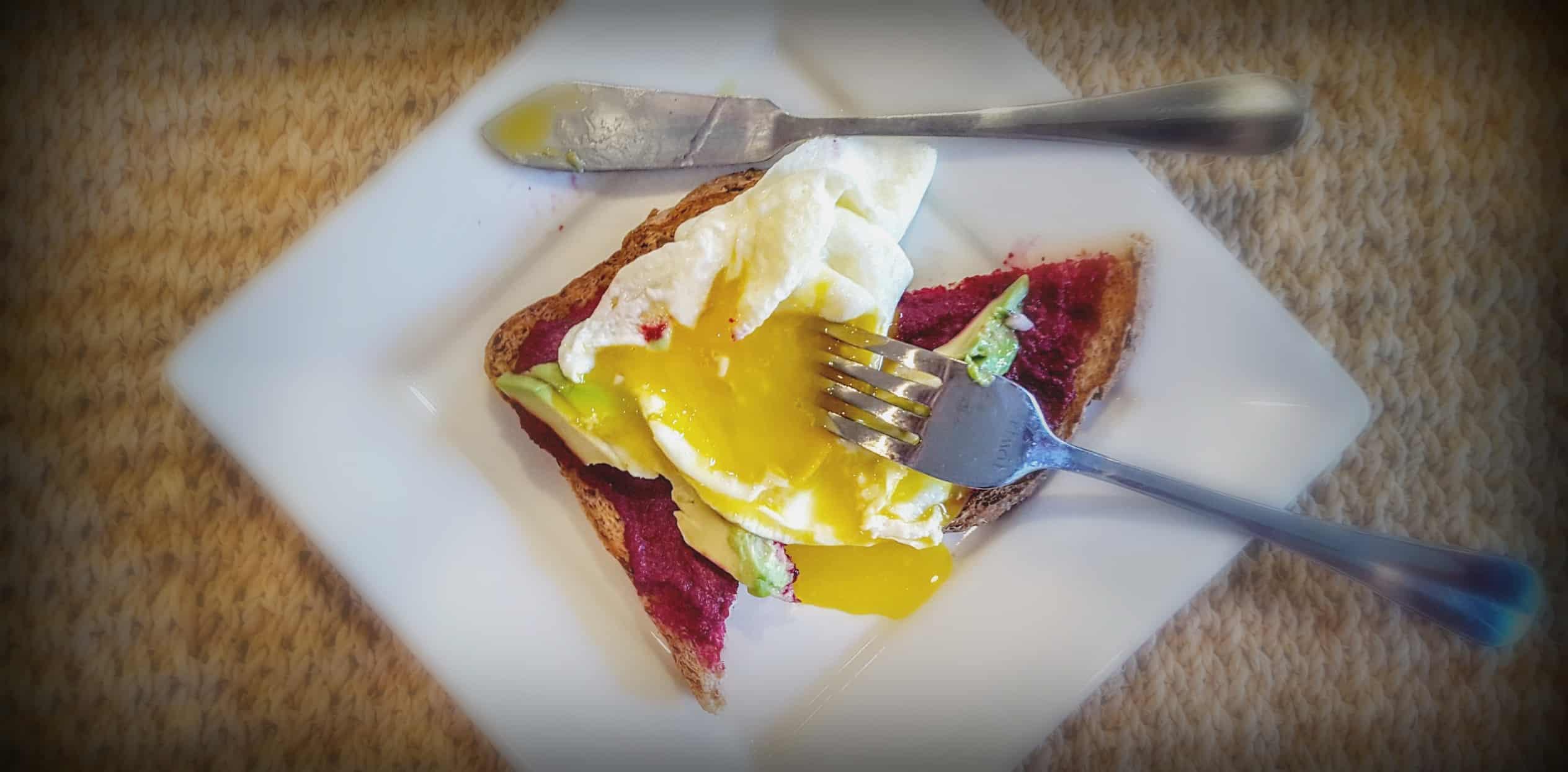 Runny Egg on Roasted Beet Toast 1