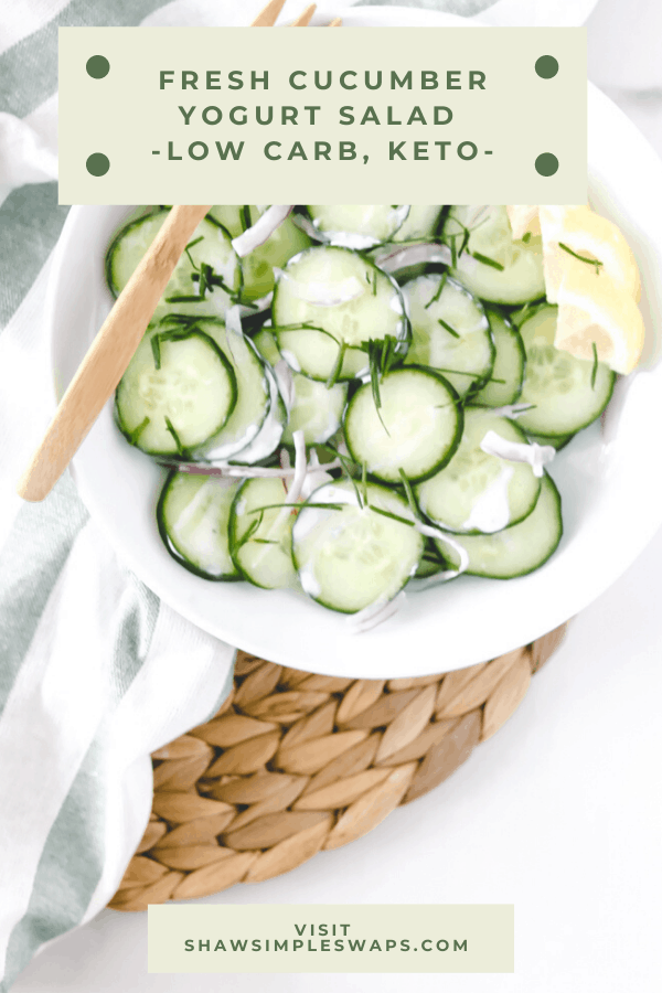 Cucumber Yogurt Salad - a simple twist on the Indian classic salad that's light, refreshing and naturally low-carb and keto friendly. #ketorecipes. #lowcarbrecipes #cucumbersalad #saladrecipes