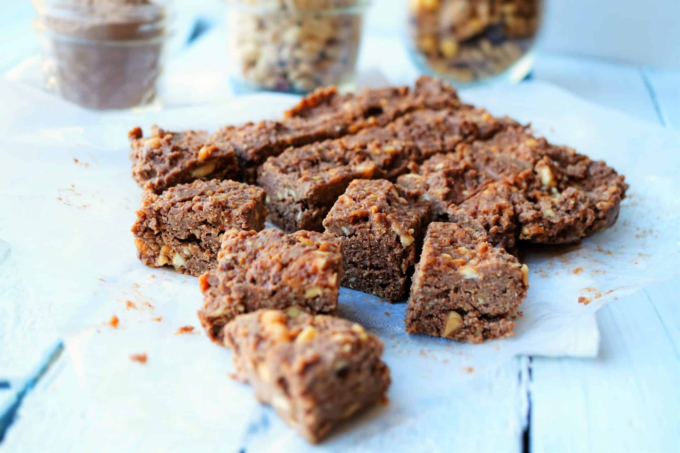 Raw Chocolate Peanut Butter Protein Bars Shaws Simple Swaps