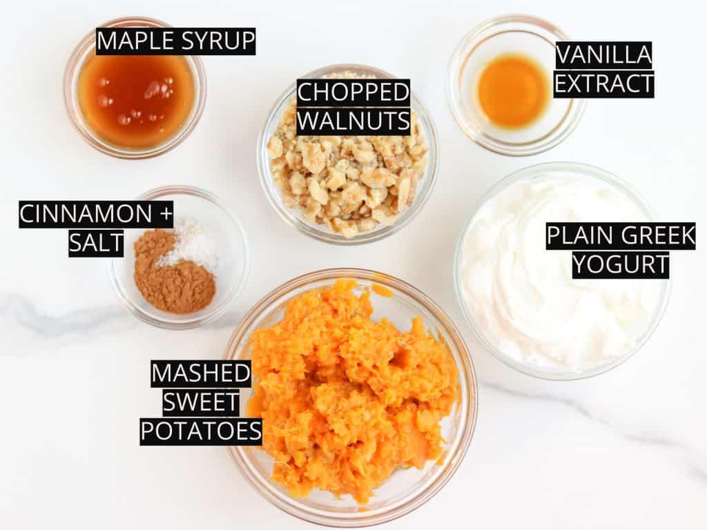 Image of ingredients for sweet potato breakfast parfait.
