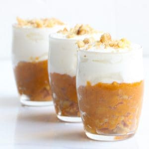 Image of 3 sweet potato breakfast parfaits lined up in a row.