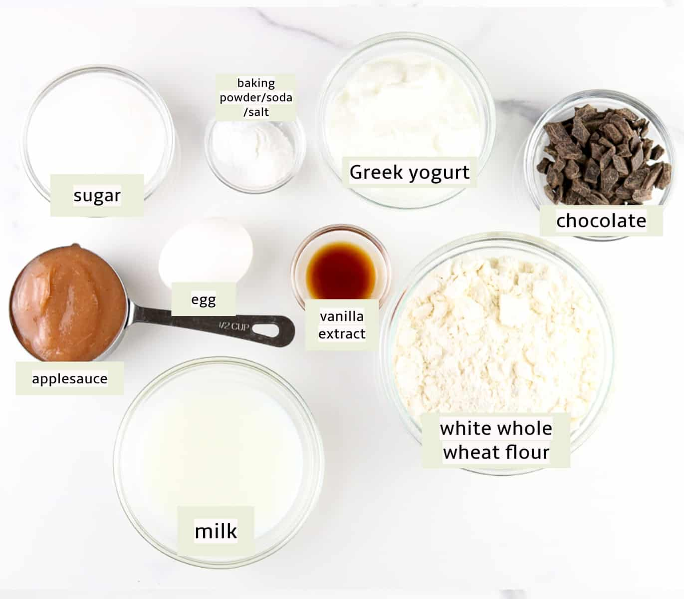 Image of ingredients needed to make chocolate chip muffins.