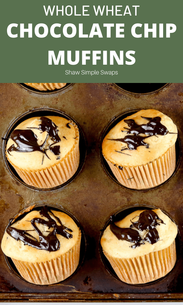 Pinable image of chocolate chip muffins.