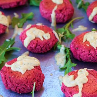 Beet Falafel Sliders with Dill Tahini Dressing – Vegan, Gluten Free