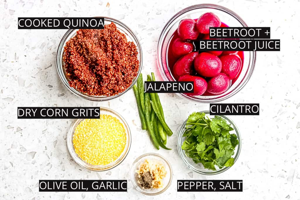 Picture of ingredients to make beetroot quinoa burgers.