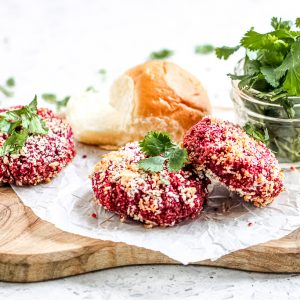 Picture of beetroot quinoa burgers.