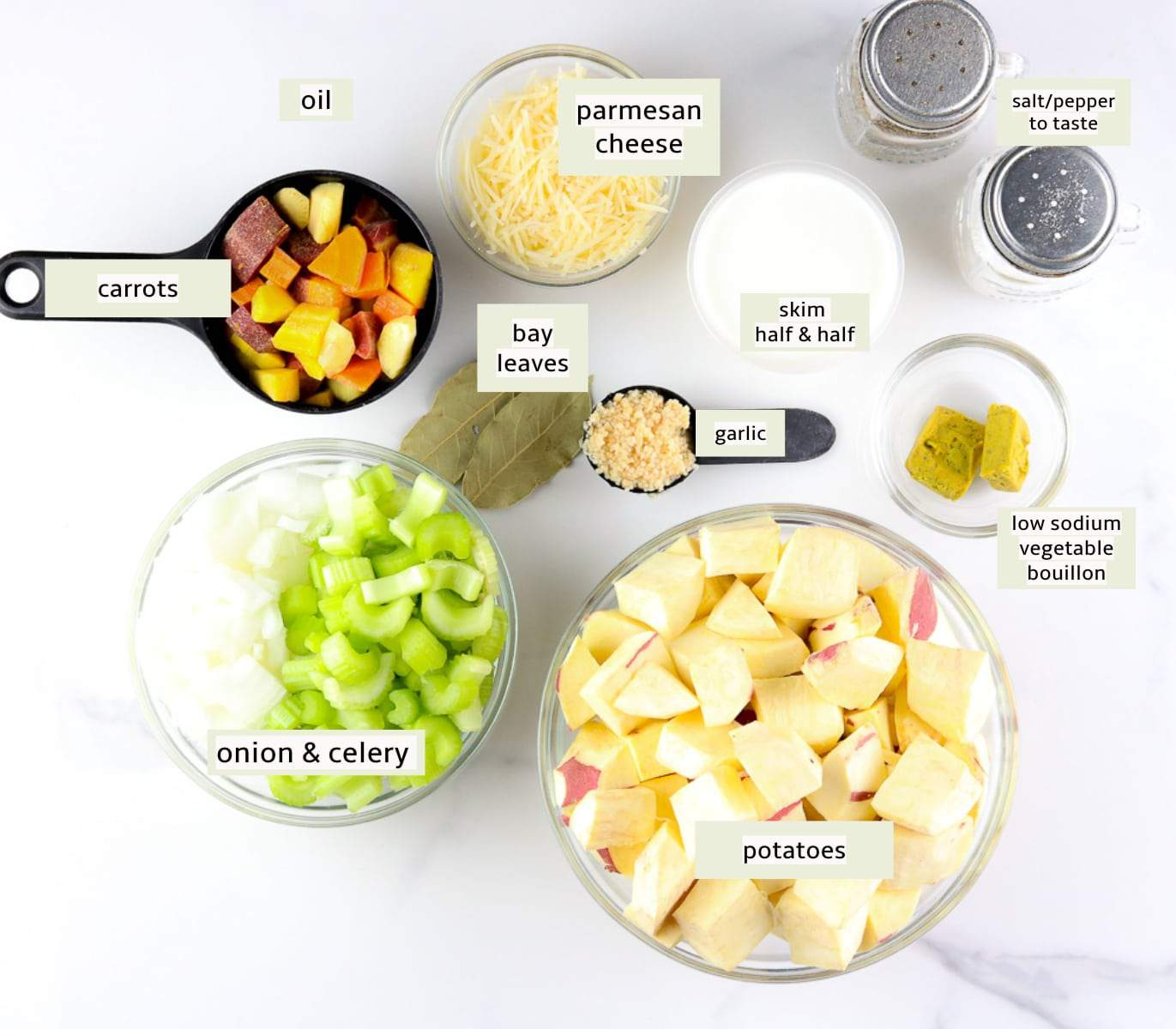 Ingredient image of preparation for potato soup.