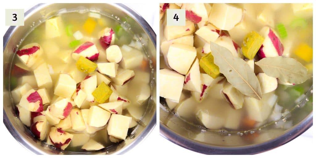 Process shot images to make potato soup.