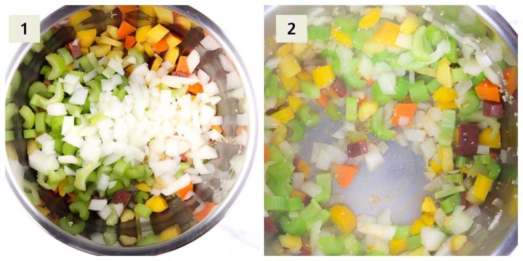 Image of process shots to make soup.
