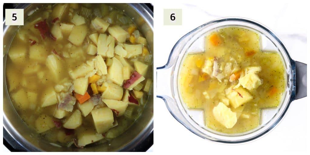 Process shots to make potato soup.